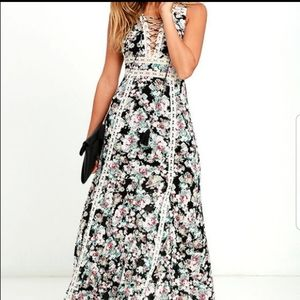 Lulus sun will shine floral maxi dress open back